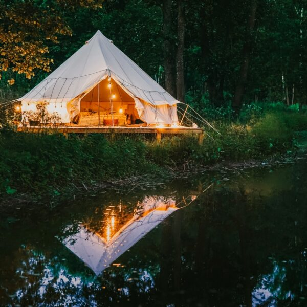 Glamping house in the nature in Russian village, boho cozy living